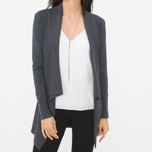 White House Black Market Grey Drape Front Cardigan